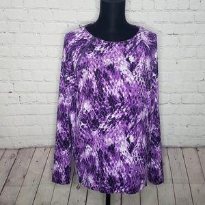 Calvin Klein Purple Snakeskin Print Top Size XL